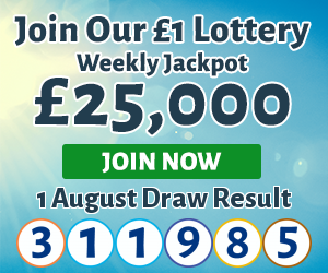Join our lottery, you could win £25,000